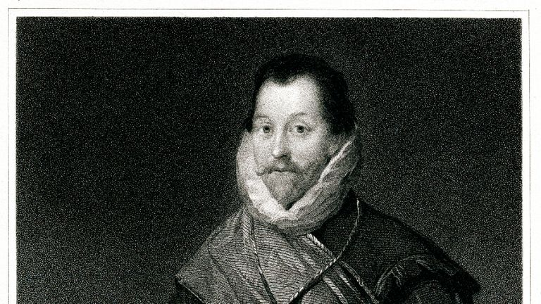 Engraving From 1834 Featuring The British Captain, Sir Francis Drake.  Drake Lived From 1540 Until 1596.