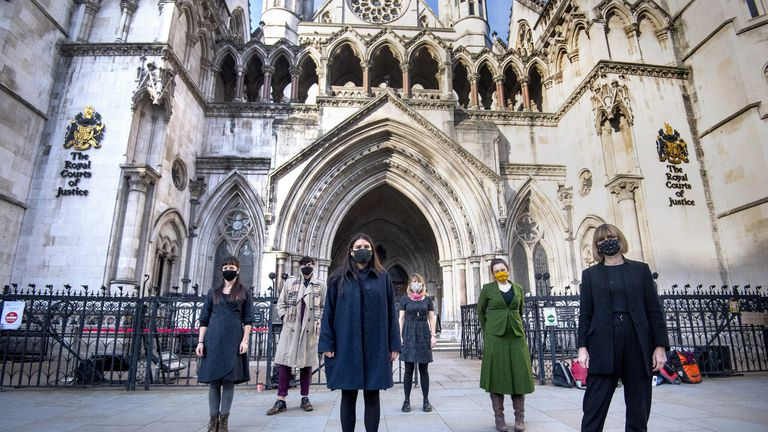 File photo dated 24/11/20 of six members of the so-called Stansted 15 (left to right) May MacKeith, Ben Smoke, Helen Brewer, Emma Hughes, Mel Evans, and Ruth Potts outside the Royal Courts of Justice in London. The protesters taken to court after preventing a deportation flight from taking off from Stansted Airport are to learn the outcome of their Court of Appeal challenge against their convictions.