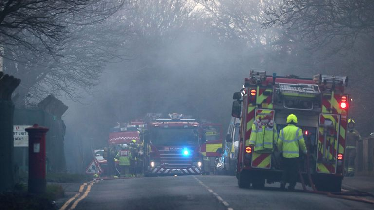 Fire services at an incident at Napier Barracks in Folkestone. Picture date: Friday January 29, 2021.