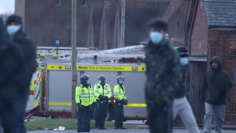 Emergency services at an incident at Napier Barracks in Folkestone. Picture date: Friday January 29, 2021.