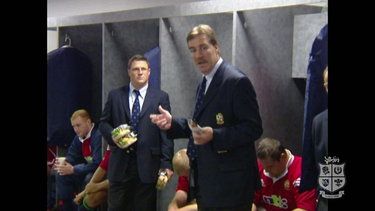 Tour manager Donal Lenihan gives an emotional speech in the aftermath of the defeat to Australia in the decisive Test.