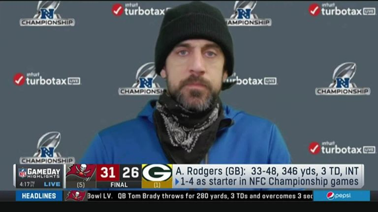 Green Bay Packers' Aaron Rodgers said his side had their chances after they lost to the Tampa Bay Buccaneers in the NFC Championship game and admitted it wasn't his decision to kick a late field goal