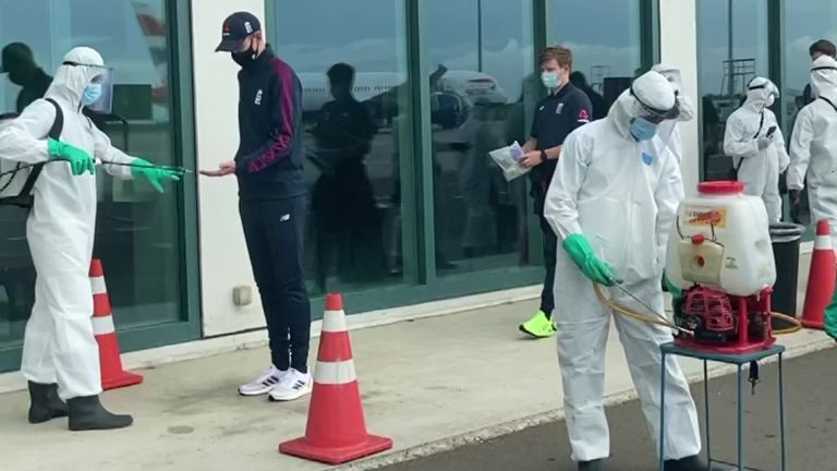 England's players were sprayed with disinfectant after arriving in Sri Lanka on a chartered flight ahead of the two-match Test series later this month (Video -  ECB)
