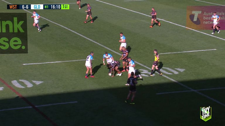 Watch Josh Reynolds' long-range try for Wests Tigers against Gold Coast Titans in the NRL in 2018.