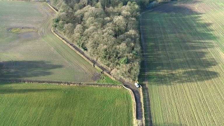 Undated handout aerial photo issued by Cheshire Constabulary of the woodland in Ashley, Cheshire, where 15-year-old Alex Rodda was bludgeoned to death on December 12 2019 by Matthew Mason. Mason, 20, has been sentenced at Chester Crown Court to life with a minimum term of 28 years for the murder of the 15-year-old. Issue date: Monday January 25, 2021.