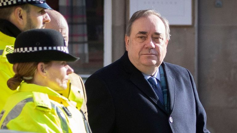 PICTURE ADVISORY. Editors of newspapers printed or that have editions circulating in Scotland and all Internet subscribers or broadcasters whose content is visible in Scotland are advised to seek legal advice before publication of this photograph as, under Scottish Law, the use of a picture of an untried person may be held to be in Contempt of Court. Former Scottish First Minister Alex Salmond arrives at the High Court in Edinburgh on the tenth day of his trial where is accused of a total of 13