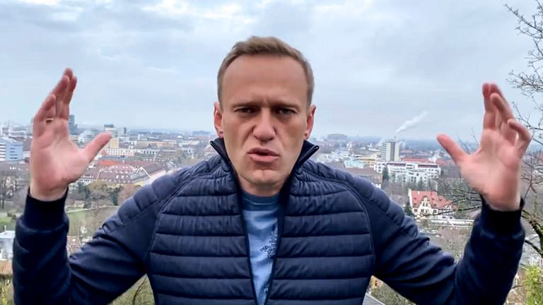 Russian opposition politician Alexei Navalny gestures in a video posted to his Instagram account