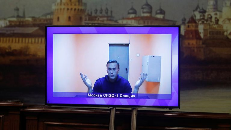 Mr Navalny appeared on a video link during the hearing
