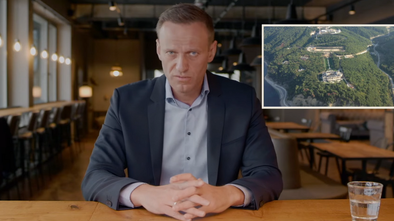 Alexei Navalny talking about the 'palace' in the video he released after being detained. Pic: YouTube/Alexei Navalny