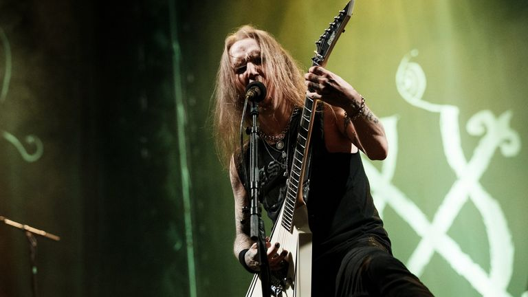 Alexi Laiho, singer and guitarist of Finnish black metal band Children of Bodom, performs in Helsinki, Finland August 23, 2019