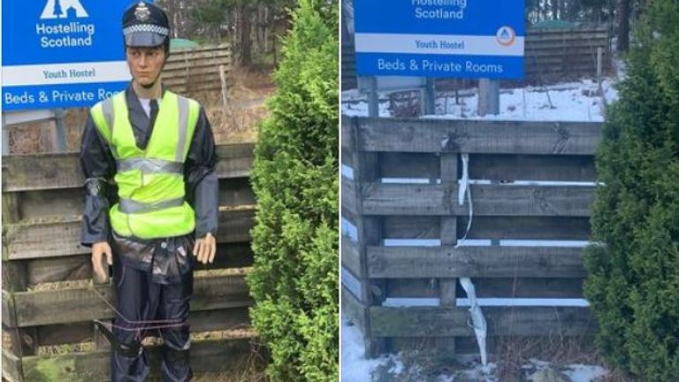 Allan the copper watches out for speedsters outside Braemar in Scotland. But he has been kidnapped.