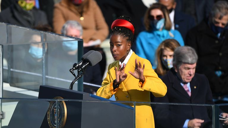 Jan 20, 2021; Washington, DC, USA; Poet Amanda Gorman during the 2021 Presidential Inauguration of President Joe Biden and Vice President Kamala Harris at the U.S. Capitol. Mandatory Credit: Robert Deutsch-USA TODAY/Sipa USA. AP PIC