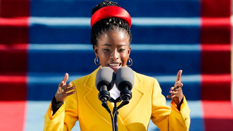 AP PIC: American poet Amanda Gorman reads a poem during the 59th Presidential Inauguration at the U.S. Capitol in Washington, Wednesday, Jan. 20, 2021. (AP Photo/Patrick Semansky, Pool)