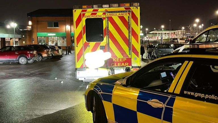 The ambulance was spotted pulling into Asda in Harpurhey. Pic: Twitter/@gmptraffic