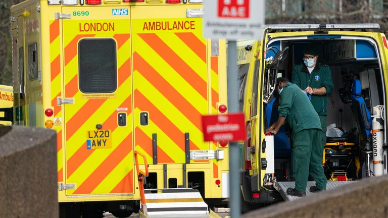 Paramedics and ambulances outside St Thomas' Hospital, in central London, during England's third national lockdown to curb the spread of coronavirus. Picture date: Thursday January 21, 2021.