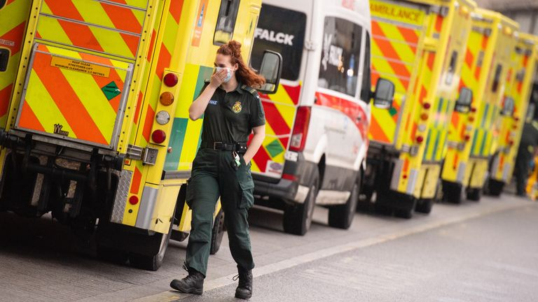 A paramedic outside the Royal London Hospital