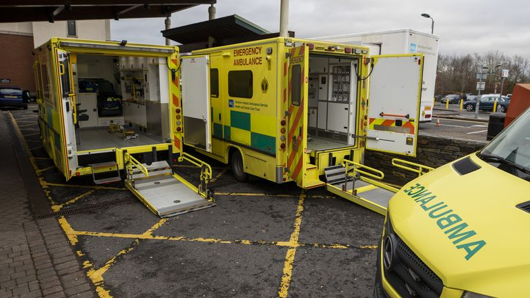 Ambulances parked at the entrance to Causeway Hospital's Accident and Emergency department in Coleraine, County Londonderry, Northern Ireland. Picture date: Monday January 18, 2021
