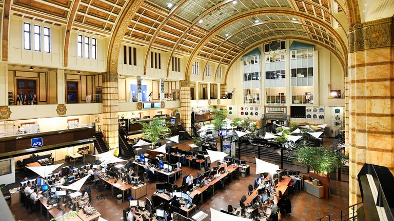 Overview of Amsterdam's stock exchange interior as Prosus begins trading on the Euronext stock exchange in Amsterdam, Netherlands, September 11, 2019