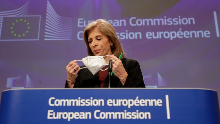 The European Commissioner in charge of Health had an online press conference on the AstraZeneca vaccine rollout at European Commission headquarters in Brussels today. Pic: AP images