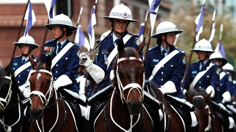 Mounted police take part in an Anzac Day parade in Sydney