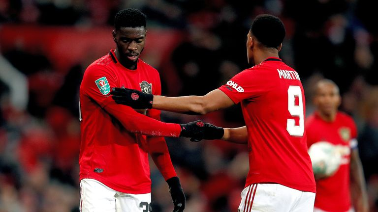 Axel Tuanzebe (L) and Anthony Martial