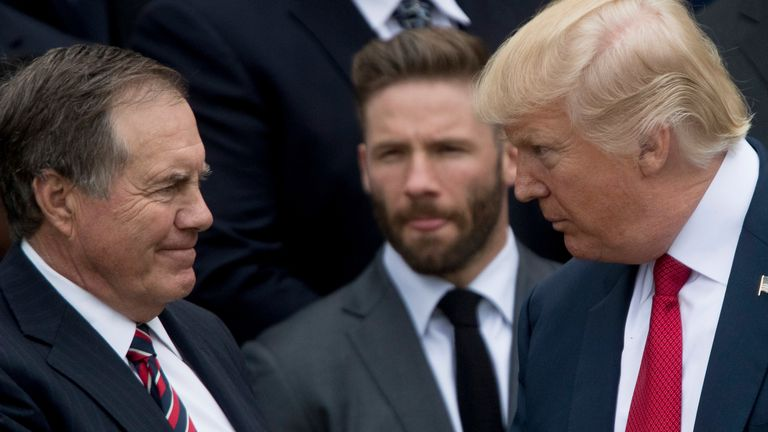President Donald Trump shakes hands with New England Patriots head coach Bill Belichick in 2017