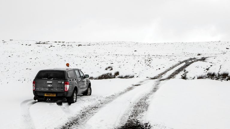 A 4X4 in the snow at Bellerby in North Yorkshire