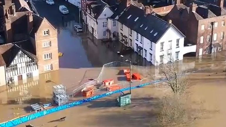 River Severn flooding town of Bewdley