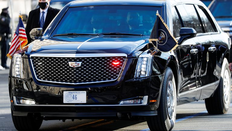The number plate on Joe Biden's car was '46' -  a nod to his new role as America's 46th president