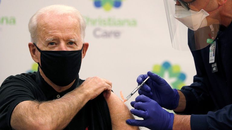 Mr Biden has been given his second jab of the Pfizer coronavirus vaccine
