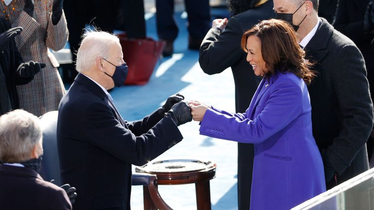 Inauguration of Joe Biden as the 46th President of the United States President-elect Joe Biden and Vice President Kamala Harris during the inauguration of Joe Biden as the 46th President of the United States on the West Front of the U.S. Capitol in Washington, U.S., January 20, 2021. REUTERS/Brendan McDermid