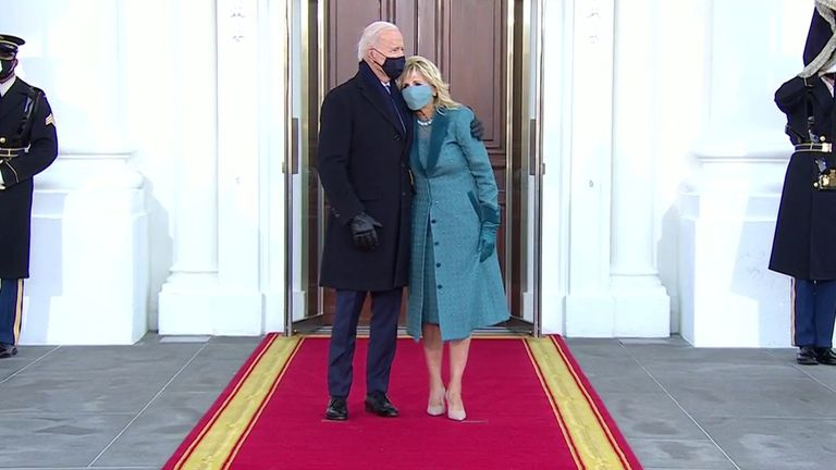 Joe Biden and his wife, Dr Jill Biden, formally enter the White House