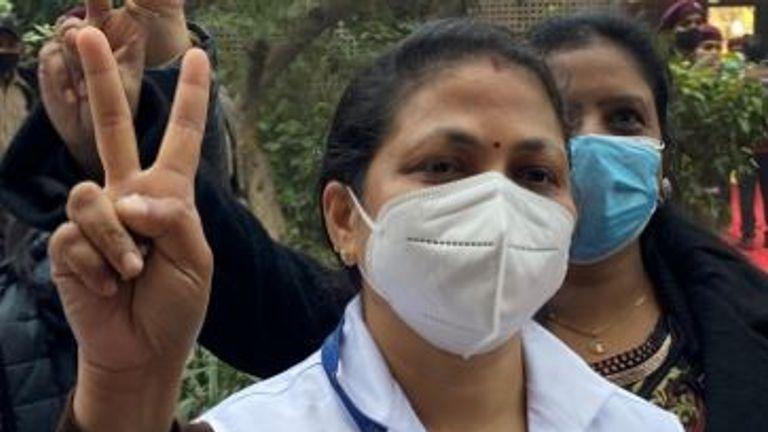 Biji Tony was the first nurse to be vaccinated at Lok Nayak Jai Prakash Hospital in Delhi