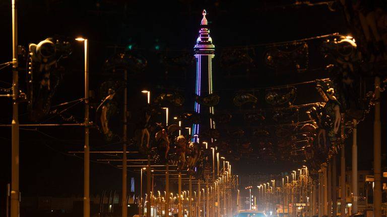 Blackpool Tower stands lit alone in November after the town's annual Illuminations were switched off