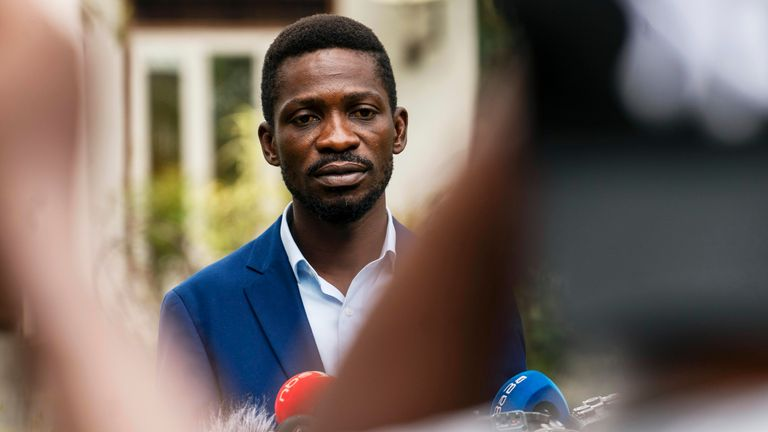 Uganda...s leading opposition challenger Bobi Wine  giving a press conference outside Kampala, Uganda, Friday Jan. 15, 2021, one day after Ugandans went to the polls. (AP Photo/Jerome Delay)