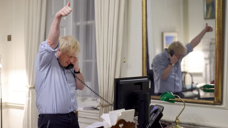 Boris Johnson has spoken to Joe Biden. Pic: Andrew Parsons/ No 10 Downing Street