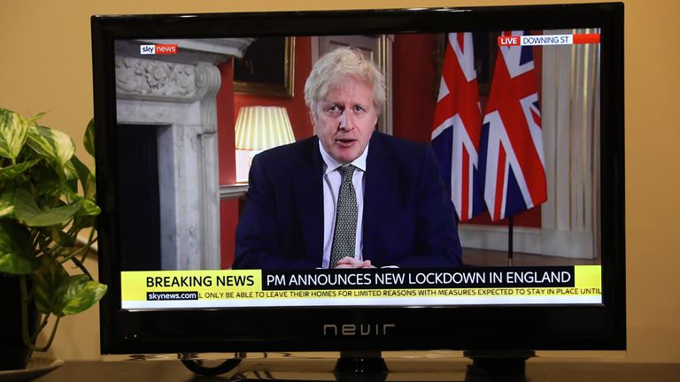 Prime Minister Boris Johnson outlines new lockdown for England in a televised address to the nation from 10 Downing Street, London, setting out new emergency measures to control the spread of coronavirus. Picture date: January Monday 4, 2021. Photo credit should read: Isabel Infantes