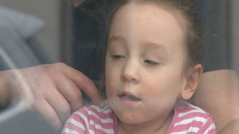 Sophie Adams, 4, has had to relearn to use a spoon