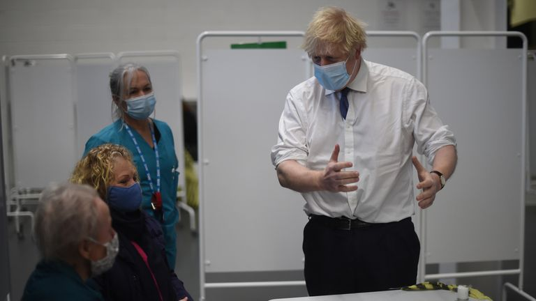 Boris Johnson during a visit to a mass vaccination centre in Bristol