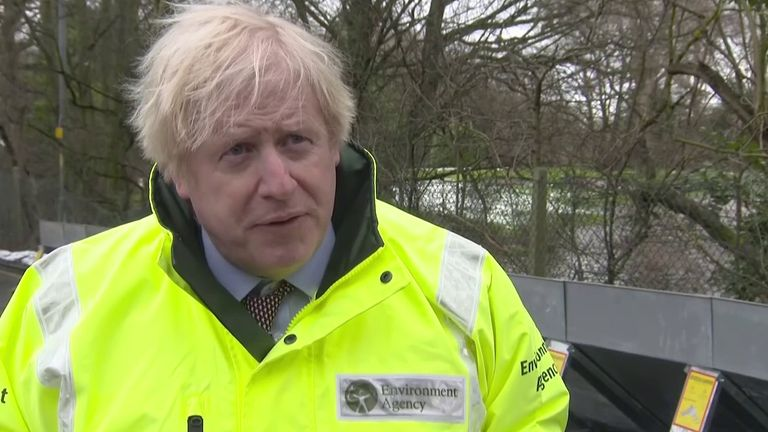 Boris Johnson visits flood-affected areas in Greater Manchester.