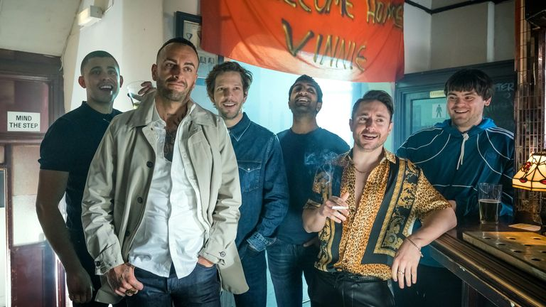 Sky comedy Brassic, starring Joseph Gilgun (second from left), is back for a third series. Pic: Sky UK