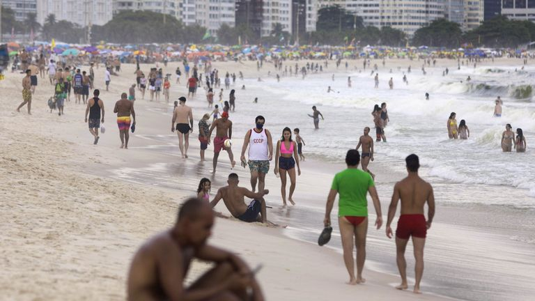 People enjoy Copacabana beach, amid the coronavirus disease (COVID-19) outbreak, Rio de Janeiro, Brazil