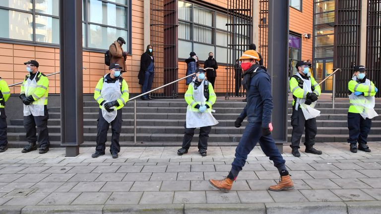 Police outside Bristol Magistrates' Court, where Rhian Graham, Milo Ponsford, Jake Skuse and Sage Willoughby are due to appear charged with criminal damage over the toppling of the Edward Colston statue in Bristol during the Black Lives Matter protests in June last year. Picture date: Monday January 25, 2021.