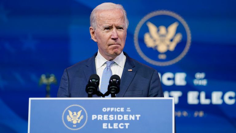 President-elect Joe Biden speaks at The Queen theater in Wilmington, Del., Wednesday, Jan. 6, 2021. (AP Photo/Susan Walsh)