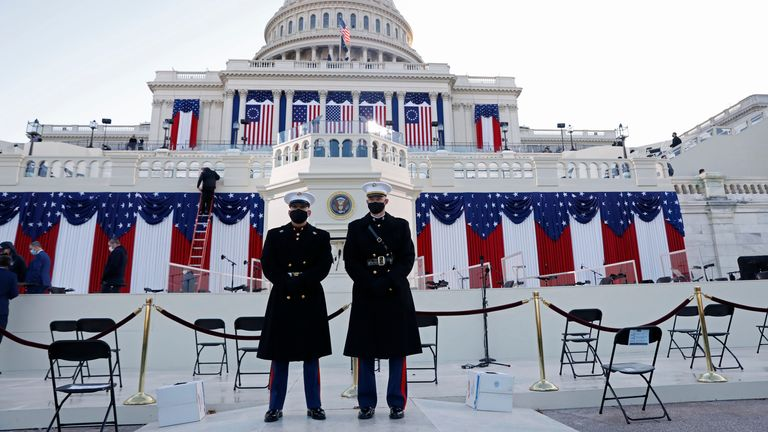Guards stand at the west front of the Capitol before the inauguration of U.S. President-elect Joe Biden, in Washington, U.S. January 20, 2021. REUTERS/Brendan Mcdermid