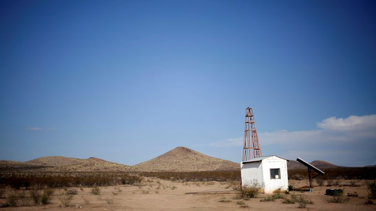 A water well is seen at the Santa Barbara ranch in a drought-stricken area near Camargo, in Chihuahua state, Mexico September 9, 2020. Picture taken September 9, 2020. REUTERS/Jose Luis Gonzalez