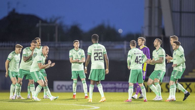 Celtic players huddle during 6 January's match against St Mirren