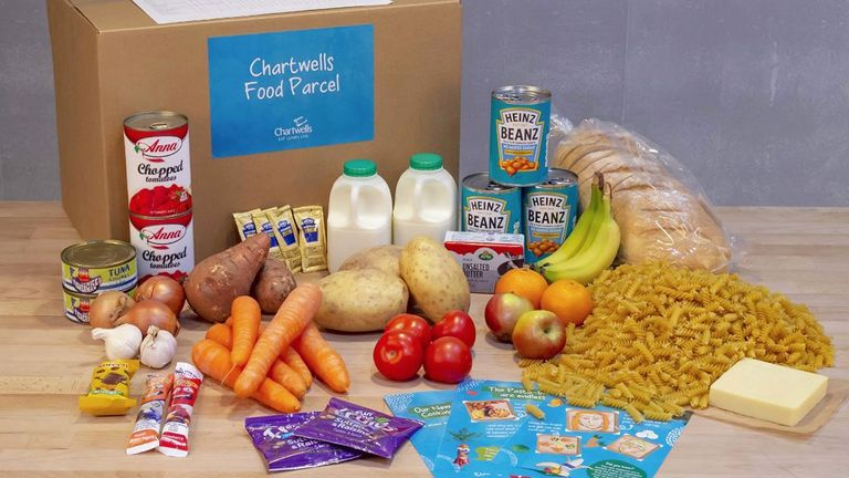 Chartwells released a photo of what a parcel for five days of lunches for a primary school pupil should look like