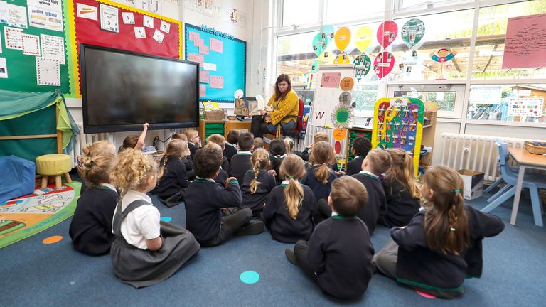 The reception class at Manor Park School and Nursery in Knutsford, Cheshire, listen to a story read by teacher Mrs Power, at the start of a four week national lockdown for England.