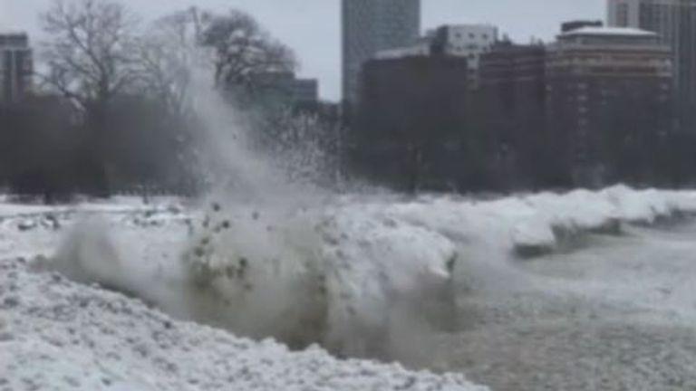 Chicago's shoreline is frozen